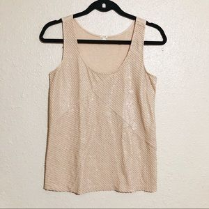 J. Crew Sequin Apricot Top Size XXS Muscle Tee